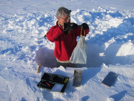 Manuel Olivera tomando muestras de nieve para el Instituto Pirenaico...