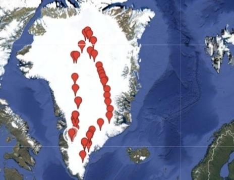 Mapa de Groenlandia con el recorrido que siguieron por el interior de...