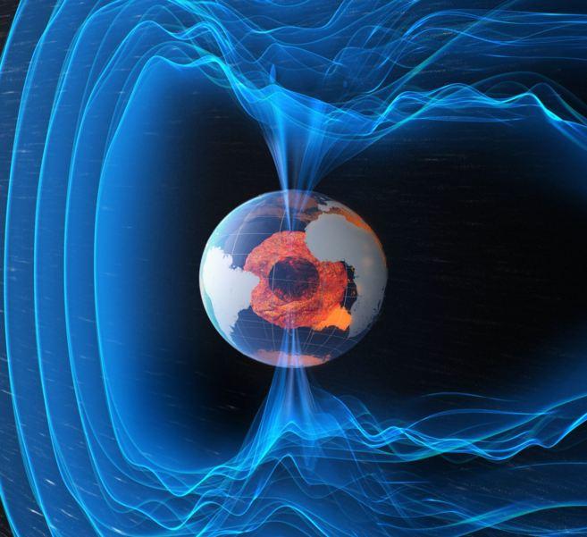 Recreación artística del campo magnético que envuelve y protege la...