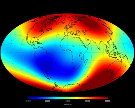 MAPA DEL CAMPO MAGNÉTICO. La ESA ha elaborado un mapa que muestra...