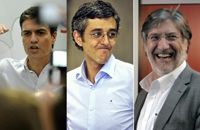 Pedro Sánchez, Eduardo Madina, y Pérez Tapias, los tres candidatos a...