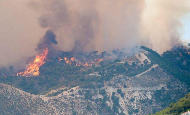 Imagen del incendio originado en la Sierra de Tejada, a la altura de...