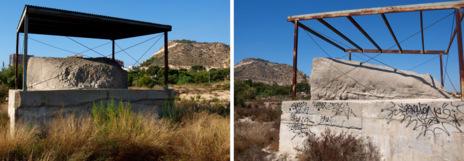 Deterioro de la protección en los restos del Cerro de las Balsas.