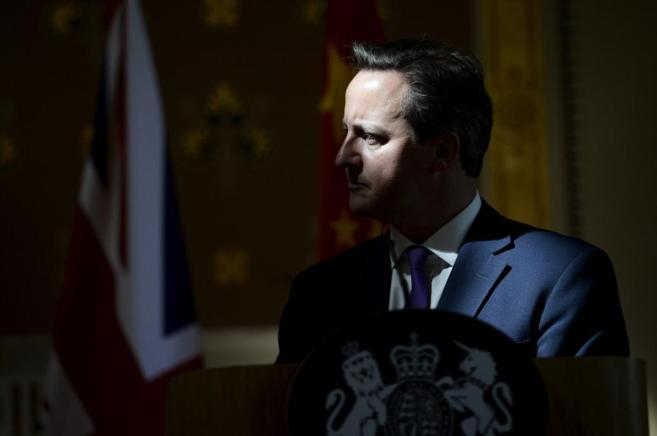 El 'premier' David Cameron durante una conferencia en el...