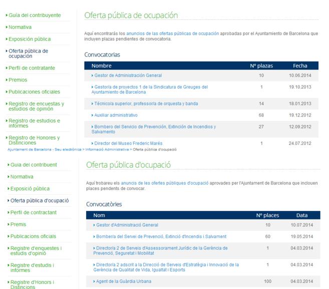 Arriba, página web en castellano sin la oferta. Debajo, la web en...