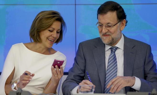 Mariano Rajoy  junto a María Dolores de Cospedal al inicio de la...
