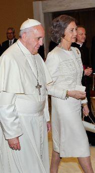 Doña Sofía y el Papa Francisco, hace dos meses.