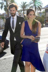 Con Tamara en la boda de su hermano, Ángel Solís.