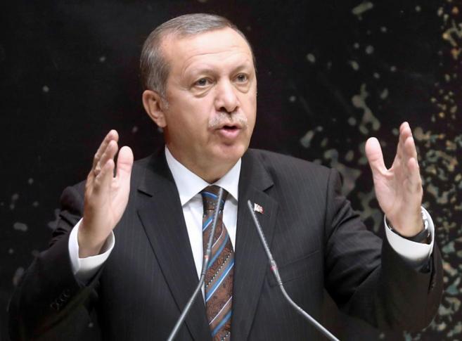 El primer ministro turco, Recep Tayyip Erdogan durante un discurso en...