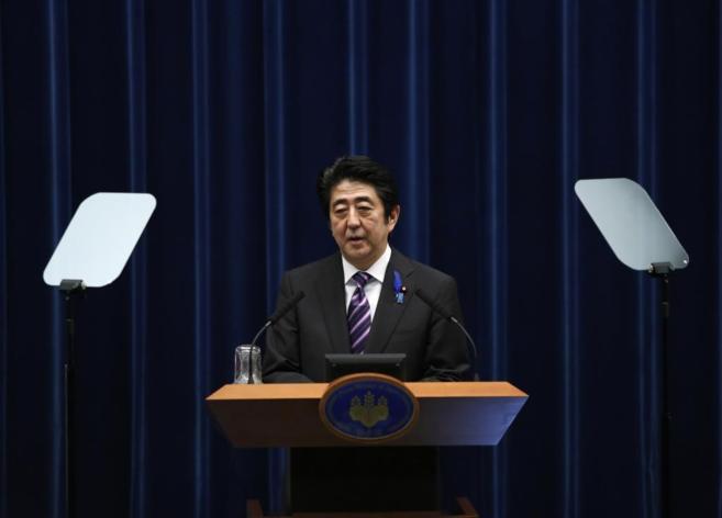 El primer ministro japonés, Shinzo Abe, durante una rueda de presa en...