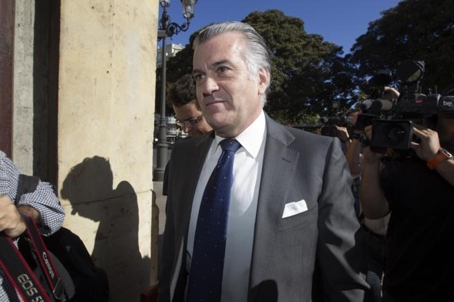 Luis Bárcenas, en la sede del TSJ de Valencia, para prestar...