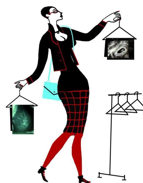 Una ilustración muestra a una mujer que se dispone a colgar sus...