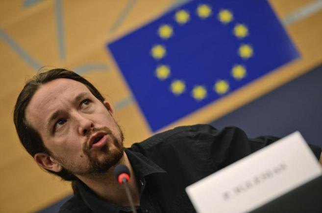 Pablo Iglesias, en la sesión plenaria celebrada en Estrasburgo.