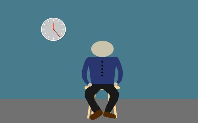 Una ilustración muestra a un hombre sentado en una silla con un reloj...