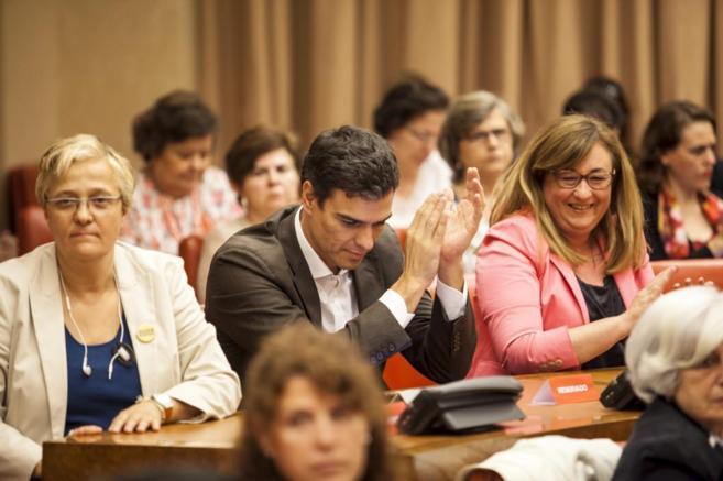 El socialista Pedro Sánchez, en el debate contra la reforma de...