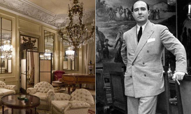 A la izquierda, imagen del fastuoso salón del palacete de Muntaner...
