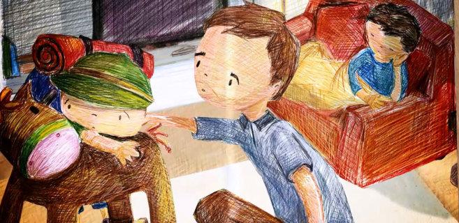 Uno de los dibujos del cuento, donde se ve a la madre de Mateo cansada...