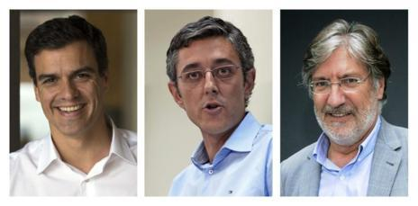 Pedro Sánchez, Eduardo Madina y Antonio Pérez Tapias