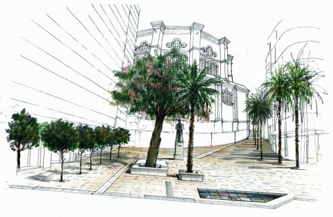 Recreación del entorno urbanístico de la Catedral.