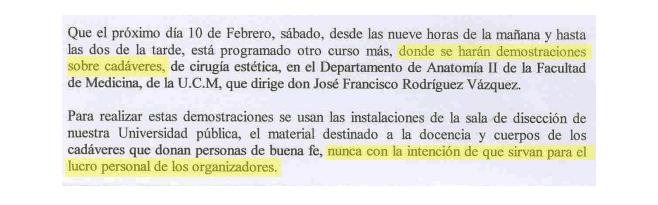 Fragmento de una de las denuncias que recibió Berzosa siendo rector...