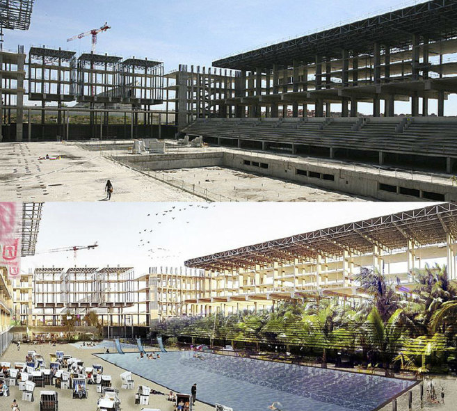 Arriba, estado actual del Centro Acuático; abajo, el proyecto de...