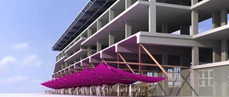 Los arquitectos proponen cubrir con lonas los exteriores para montar,...