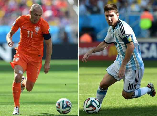 Robben y Messi se verán hoy las caras.