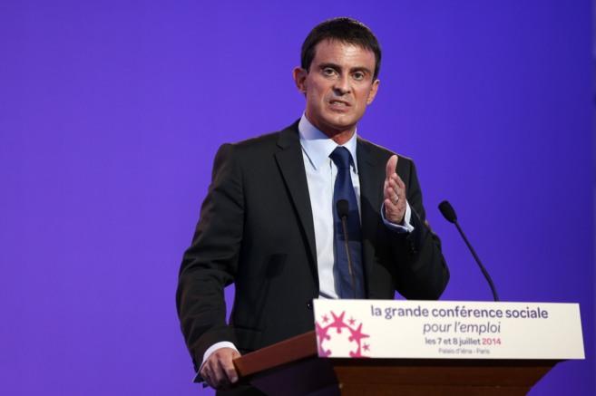 El primer ministro francés, Manuel Valls, durante una conferencia en...