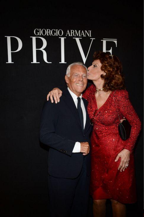 Con Sophia Loren, en su reciente desfile en la Semana de la Alta...