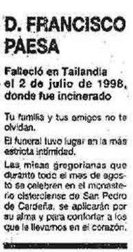 Esquela publicada el 21 de julio de 1998