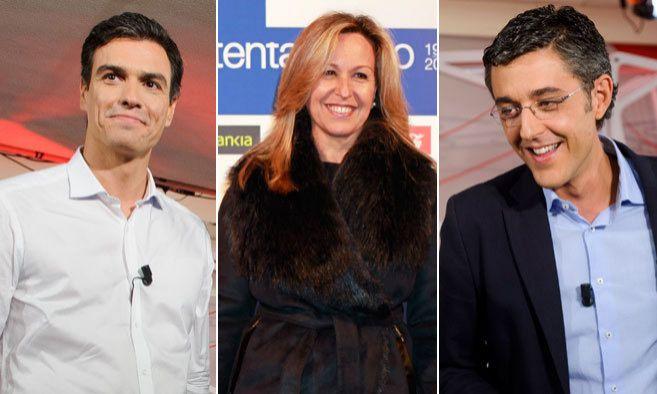 De izquierda a derecha, Pedro Sánchez, Trinidad Jiménez y Eduardo...