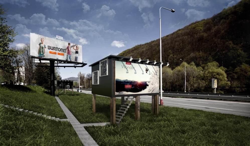 Imagen de una valla publicitaria tradicional y de una modificada para...