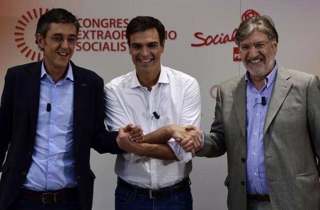 Los tres candidatos a la Secretaría General del PSOE, tras su debate...