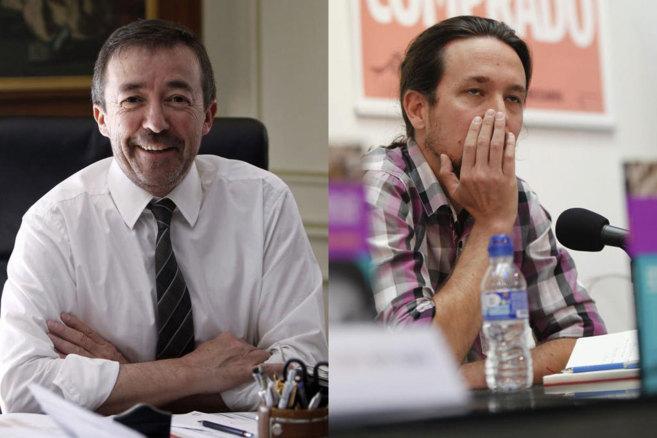 Combo de Santiago Carrillo durante la entrevista y de Pablo Iglesias...