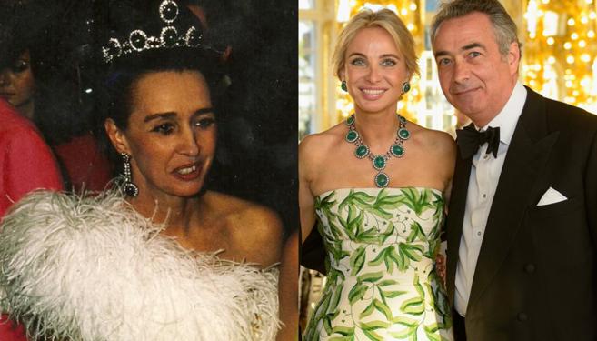 Imagen de la condesa con el collar a modo de tiara. A su lado,...