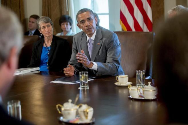 El presidente estadounidense, Barack Obama, durante una reunión de su...
