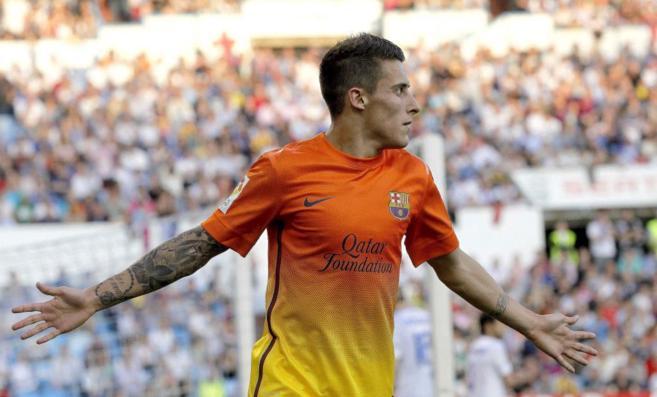 Cristian Tello celebrando un gol con el Barcelona.