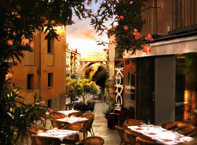 Terraza del restaurante Korgui, Madrid