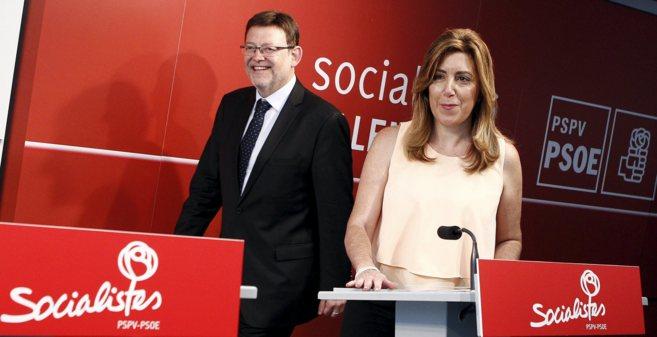 Ximo Puig y Susana Díaz, antes de su comparecencia conjunta.