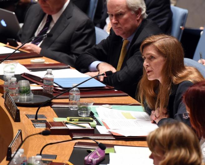 Power, embajadora de EEUU en Naciones Unidas, hoy, durante la reunión...