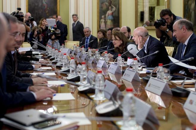 Wert, junto a la secretaria de Estado de Educación, en una reunión...