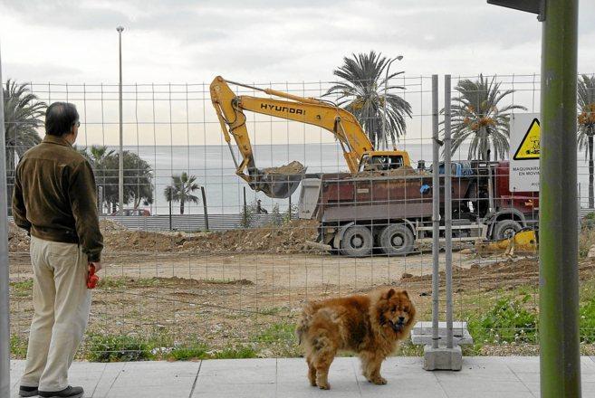 Un hombre pasea a su perro y observa la reanudación de las obras...