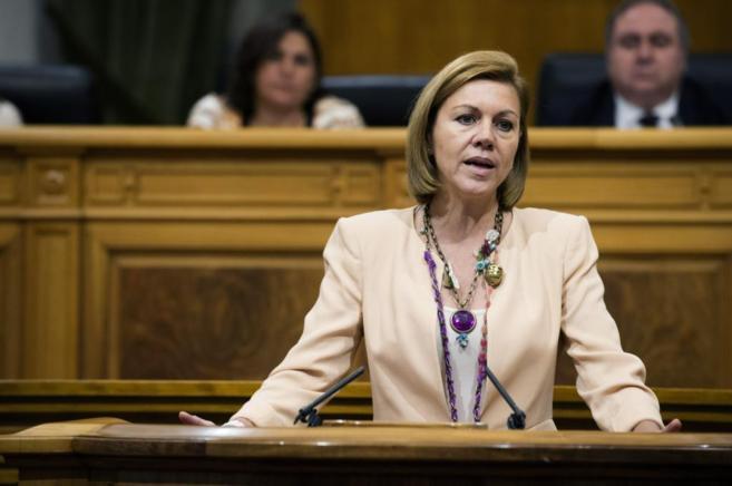 La presidenta de Castilla-La Mancha, María Dolores de Cospedal, en su...