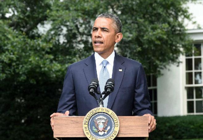 El presidente de Estados Unidos, durante su intervención en el...