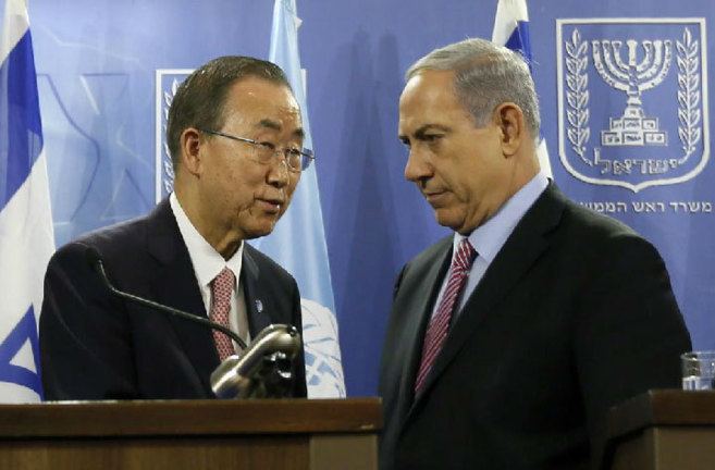 El secretario general de la ONU y el primer ministro Netanyahu, hoy,...