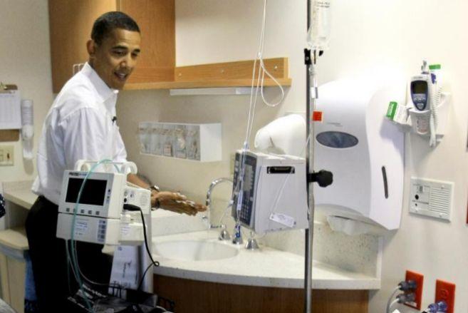 Barack Obama visita a enfermos del hospital hospital de Barnes de St....