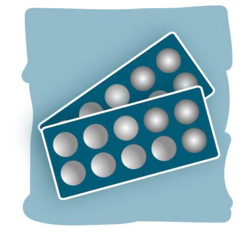 Una ilustración muestra dos blister de pastillas