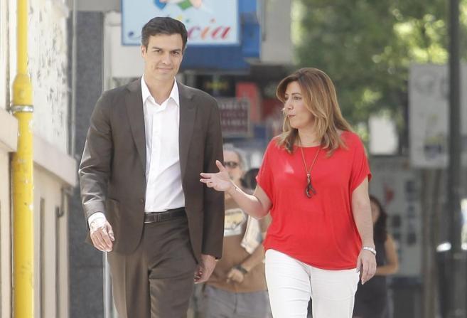 Susana Díaz y Pedro Sánchez el pasado 14 de julio en Madrid.