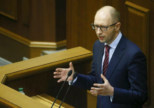 El primer ministro ucraniano, durante un discurso en el Parlamento en...
