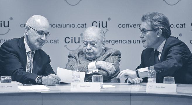 Duran i Lleida, Jordi Pujol y Artur Mas, durante la reunión de la...
